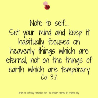 set your mind on heavenly things